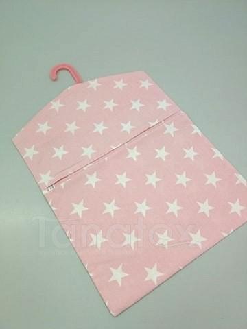Kapsář na ramínko - hvězdy na růžové