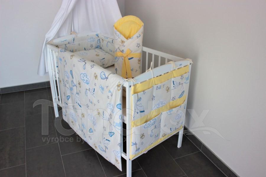 Kapsář na postýlku Čáp s miminkem se žlutou