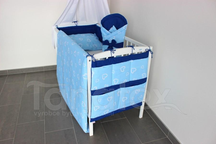 Kapsář na postýlku Srdíčka v perokresbě modrá - royal modrá